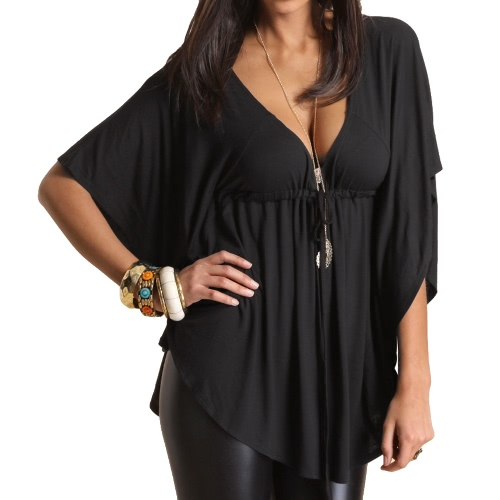 New Fashion Women Blouse Sexy V Neck Batwing Sleeve Solid Loose Casual Tee Shirt Tops