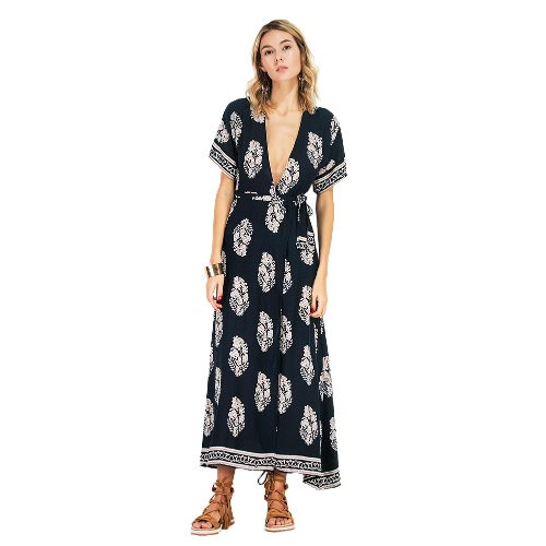 Mulheres Maxi Print Dress Mergulhe V Neck Backless Short Sleeve Cintura Strap Long Dress Dark Blue