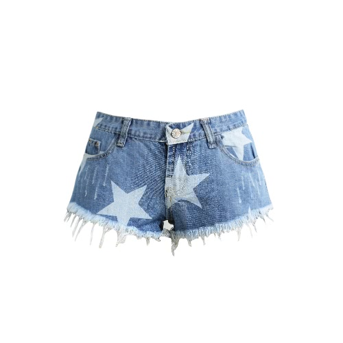 Mulheres Star Print Shorts Frayed Tassel Denim Shorts Washed Sexy Low Cintura Rip Super Shorts Verão Jean Shorts Light Blue