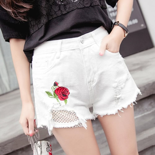 Fashion Floral Rose Embroidery Grids Holes High Waist  Women's Jean Shorts