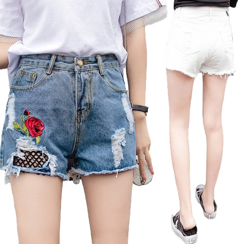 Women Jean Shorts Washed Denim Floral Rose Embroidery Grids Holes High Waist Ripped Frayed Slim Pants White/Blue