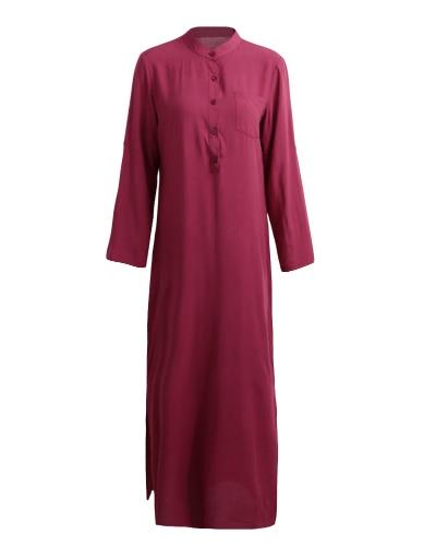 Женщины Ретро Длинные Макс платье Элегантный Сексуальная Дамы с длинным рукавом Стенд Ошейник Длинные линии Сплит Твердые рубашки платье фото