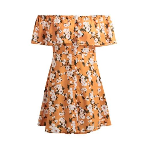 Mujeres Verano De Hombro Flor Vestido Imprimir Slash Cuello Casual Vestido De Playa Amarillo