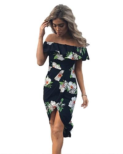 Sexy Frauen Boho Off Schulter Kleid Rüschen Blumen Print Asymmetrische Ruched Split Sommer Strand Urlaub Kleid Weiß / Blau / Rot