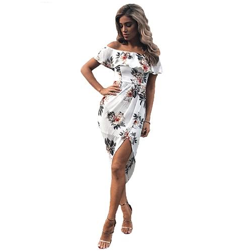 Mujeres atractivas Boho de vestidos de hombro Ruffles Floral Imprimir Asimétrica acanalada Split verano Beach Holiday vestido blanco / azul / rojo