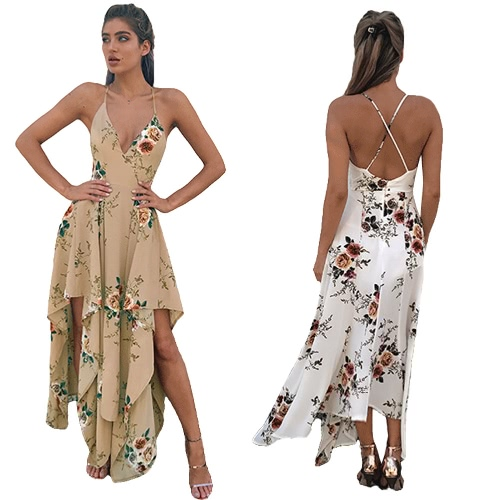 Sexy Women Maxi Dress Deep V Neck Floral Print Asymmetrical Summer Beach Bohemian Long Slip Dress White/Khaki