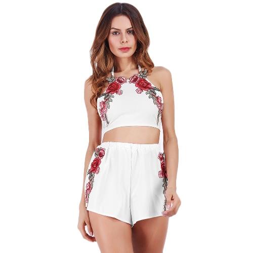 Sexy Mujeres Halter Crop Top Shorts Bordado floral Sin mangas Backless Casual Dos piezas Blanco / Rosa