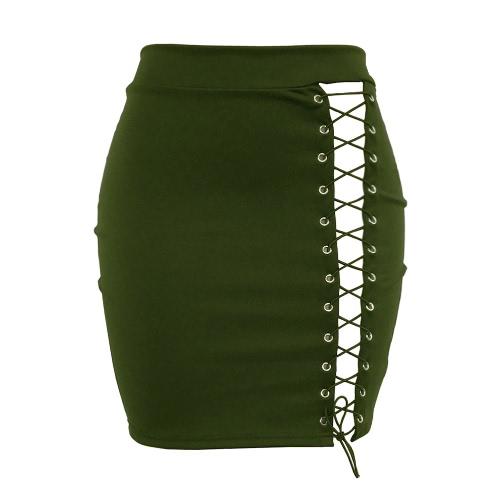 La nueva falda atractiva de la falda de Bodycon de las mujeres ahueca hacia fuera la alta falda corta sólida de la cintura del vendaje