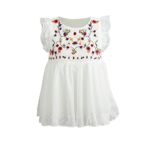 New Sweet Shirt Bordado Floral Plissado Ruffled Cute Sleeveless Vintage Blusa de verão Tops Branco