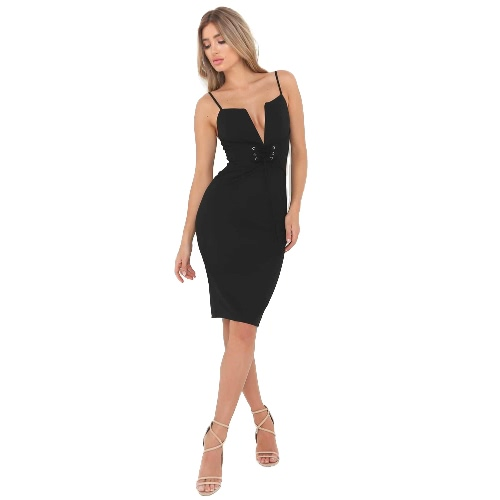 Women Pencil Dress Solid Plunging V Neck Sleeveless Bandage Lace Up Midi Backless Bodycon One-Piece