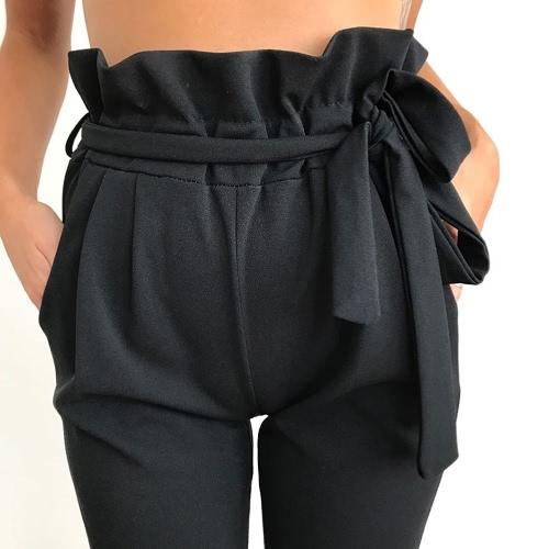 Женщины OL Высокие талии Гаремные брюки Летние сплошные цветные карманы Причинные колготки Брюки фото