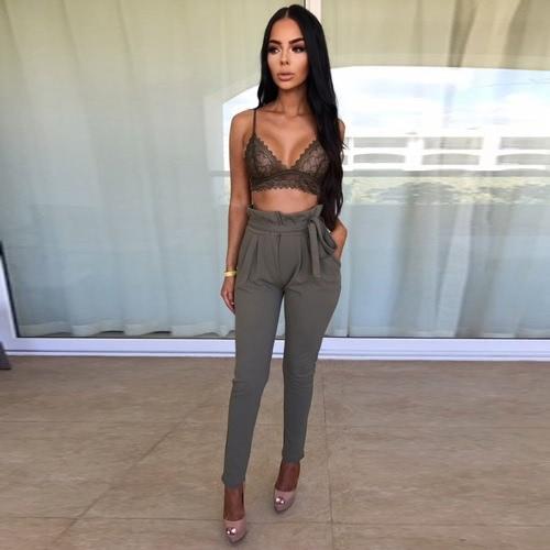 Mujeres OL pantalones de cintura alta Harem verano bolsillos de color sólido pantalones de medias Causal