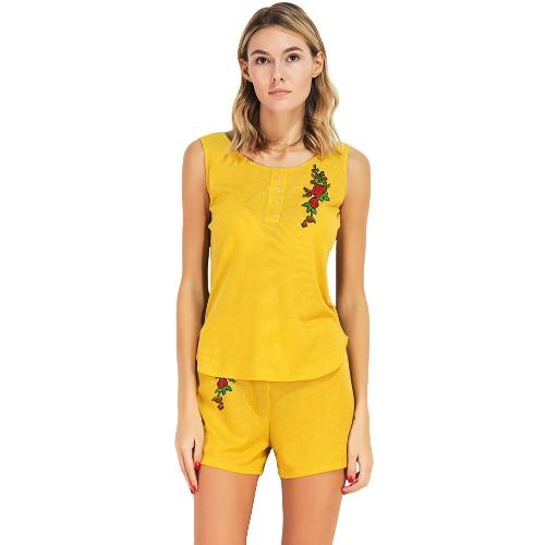Neue Frauen Sets Casual 2 Stück Set Blumenstickerei O-Neck Ärmelloses T-Shirt Tank Top und Shorts Set Gelb