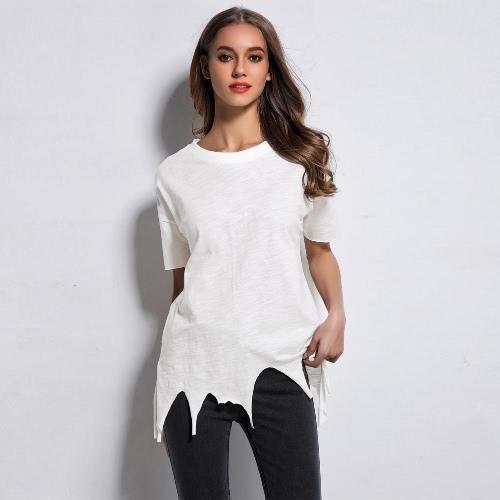 Moda Mujer T-Shirt Ripped Desgastado Burning Hem sólido manga corta camiseta Casual suelta Tops camisa blanca