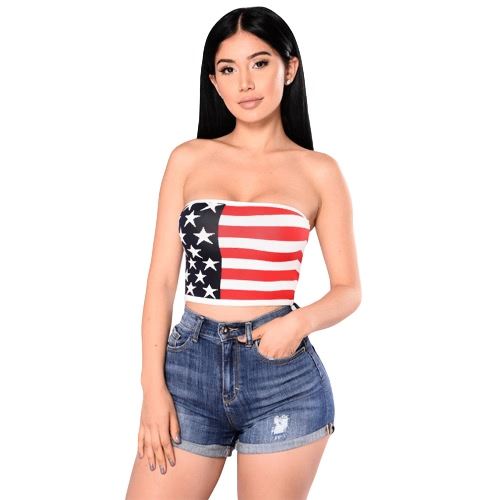 68d1cba12a Sexy Women Strapless Bustier Crop Top American Flag Print Bandeau Camisole Tank  Tube Top Red