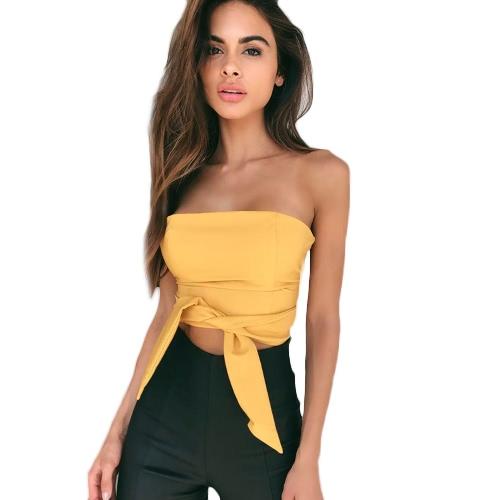 Mujeres atractivas Bodycon culot Blusa superior vendaje sólido de hombro Backless sin mangas Clubwear Casual Top