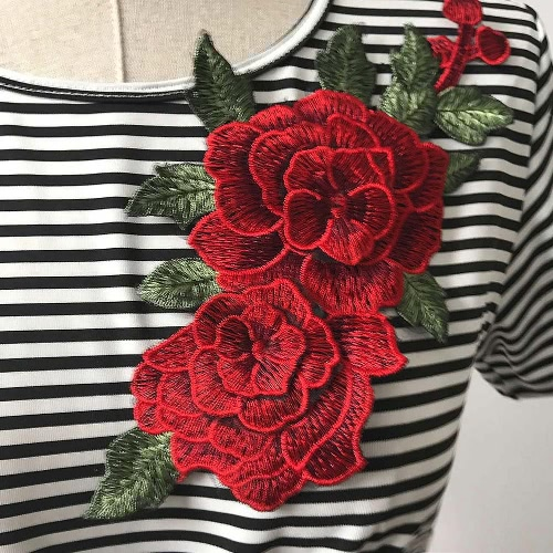 New Fashion Women Striped T-Shirt Floral Embroidery Short Sleeve Casual Blouse Tee Sexy Crop Top Black