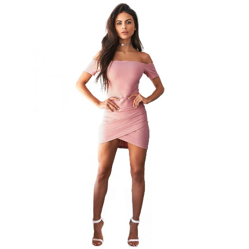 Vestito da donna sexy da spalla Asimmetrica Draped Fasciata increspata Mini Bodycon Nightclub Backless un pezzo rosa / nero