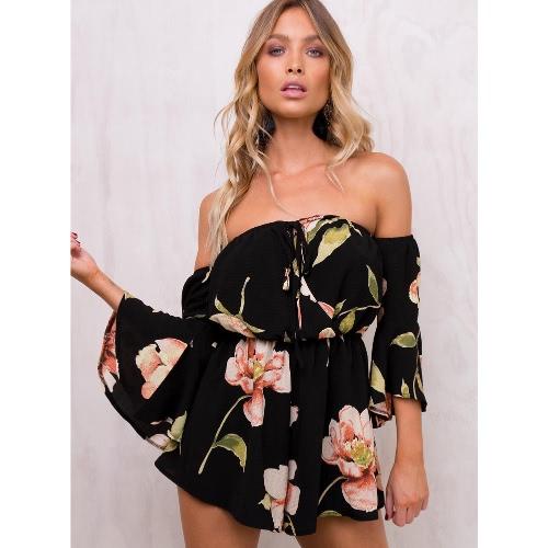 Impresión floral atractiva de mangas de hombro informal para mujer