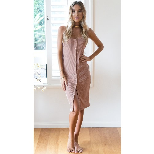 Sexy Knitted Slip Button Strap sin mangas Backless Slim Mujer Bodycon vestido