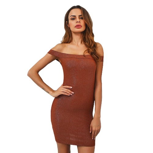 Sexy Off Shoulder Knitted Glitter Bling Slim Women's Bodycon Dress