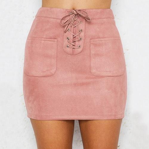 Sexy kobiet Suede Mini Spódnica koronki-up Ołówek Spódnice Casual Wysokie Talia Slim Solid Bodycon spódnica Pink / Yellow