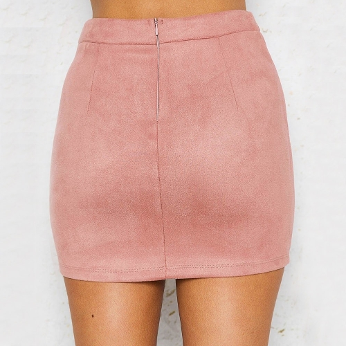 Sexy Women Suede Mini Skirt Lace-up Pencil Skirts Casual High Waist Slim Solid Bodycon Skirt Pink/Yellow