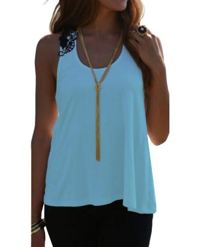 Frauen-Sommer-Oberseiten-beiläufige Sleeveless Weste-Hemd-Behälter-Häkelarbeit-Spitze-T-Shirt