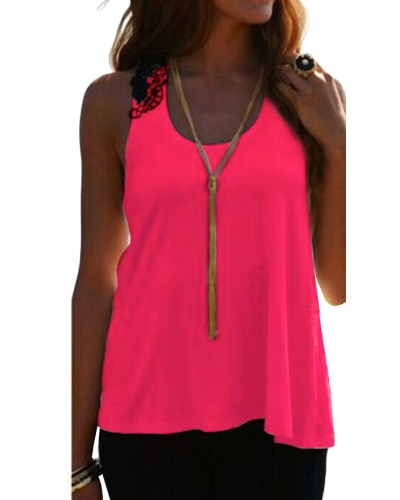Mujeres Top de verano Casual sin mangas chaleco Camiseta Tank T-Shirt de encaje de ganchillo