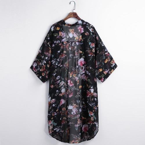 Frauen Boho Chiffon Kimono Strickjacke Kap Bikini Cover bis Floral Lange Jacke Strand Robe Bluse Top Schwarz / Beige