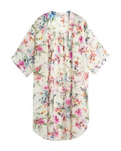 Mujeres Boho Chiffon Kimono Cardigan Cape Bikini Cubierta Floral Chaqueta Larga Beach Robe Blusa Top Negro / Beige