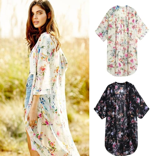 Women Boho Chiffon Kimono Cardigan Cape Bikini Cover Up Floral Long Jacket Beach Robe Blouse Top Black/Beige