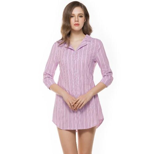 Moda botón de rayas delanteras vuelta hacia abajo collar 3/4 manga mujer blusa
