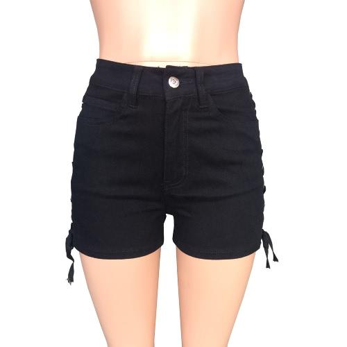 Neue reizvolle Frauen-Denim-Kurzschlüsse Crisscross Lace-Up Verband-Knopf-hohe Taille-feste dünne kurze Jeans-Weiß / Schwarzes