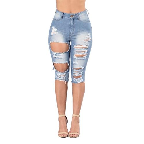 Frauen gewaschenes Denim-Loch zerrissenes Knie-hohe Taille beunruhigte Jeans