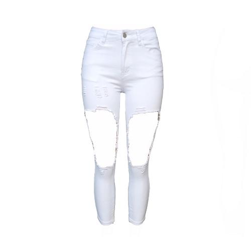 Mulheres cortadas Strochy Hole joelho Zipper Mid Waist Distressed Jeans