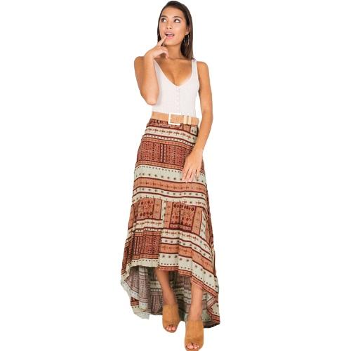 Boho falda de las mujeres impresión geométrica del patrón asimétrico de alta cintura larga casual playa vacaciones desgaste