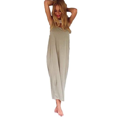 Boho Mujeres Vestido Plunge Backless cuello redondo sin mangas Long Maxi Gown Casual Beach Holiday Sundress