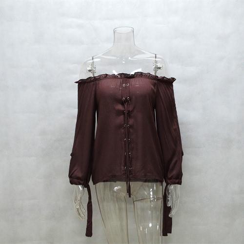 Las nuevas mujeres atractivas de la camisa de la blusa del hombro atan para arriba cortó el café superior / el rojo de Streetwear del pun ¢ o del lazo de la manga larga