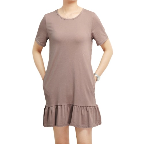 Mujeres Blusa de verano Color sólido manga corta Drapeado colgante suelta Swing Casual Tops T-Shirt Vestido Rosa