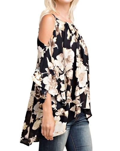 Женщины с плеча Цветочные принты Блузки 3/4 Flare Sleeves Асимметричные повседневные сексуальные рубашки Blusas Top