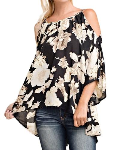 Kobiety na ramionach Floral Print Bluzki 3/4 Rękawy Flare Asymetryczne Casual Sexy Shirts Blusas Top