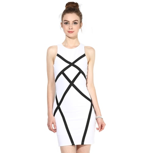 Women Pencil Dress Contraste Splicing Géométrique Sans manches Bodycon Bandage Mini Evening Party Vêtements de travail Blanc