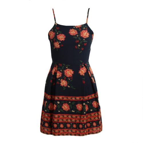 Sexy Frauen Mini Kleid Vintage Floral Print Strappy Ärmellos Backless Casual A-Line Kleid Schwarz