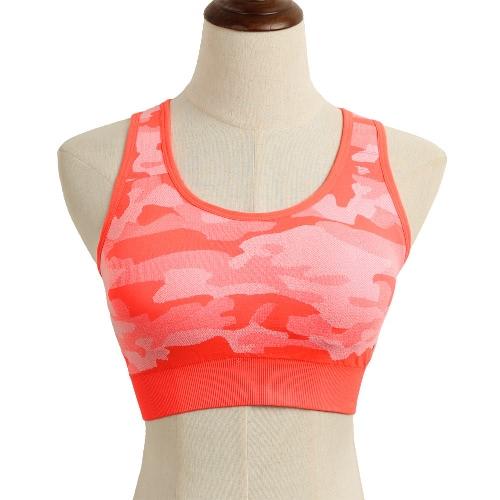 Moda mujer deportes sujetador camuflaje inalámbrico sin fisuras Fitness ropa interior acolchado gimnasio Yogo entrenamiento chaleco