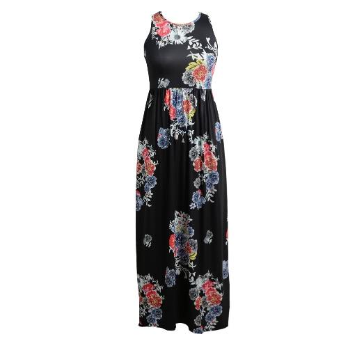 Neue Frauen-reizvolles Blumendruck-Kleid-Sleeveless Racerback-Tunika-Maxi-Strand-langes loses Kleid