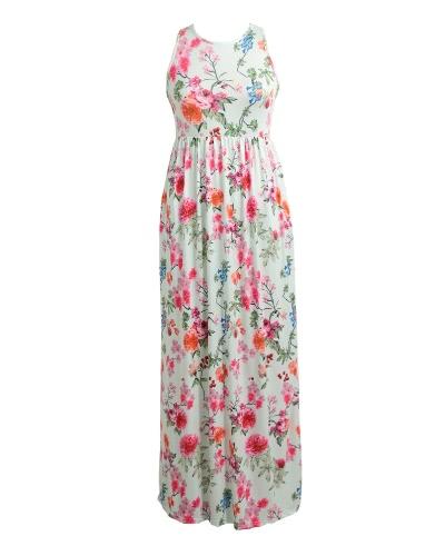 Nuevas mujeres Sexy vestido de impresión floral sin mangas Racerback túnica Maxi playa vestido suelto de largo
