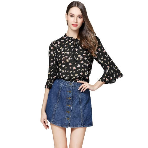 Sexy Women Flower Print Shirt Tie Bow Front Flare Sleeve Loose Blouse Casual Elegante Top Black / White / Dark Blue