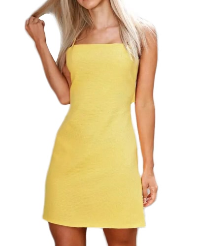 Sexy Mujeres Mini Slim Vestido abierto Strappy sin mangas Ajustable Correa Casual Beach Holiday Dress
