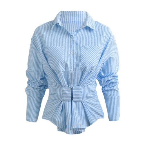 New Fashion Women Blouse Striped Single Breasted Manga comprida Casual Loose Top Blue